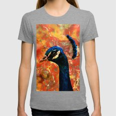 Rock and a Peacock Womens Fitted Tee Tri-Grey SMALL