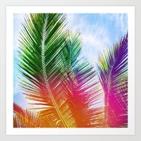 Neon Rainbow Palm Art Print