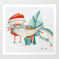 Santa And Friend Art Print