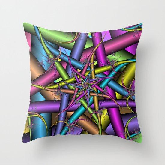 Star Fractal Throw Pillow
