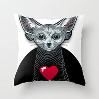 Little Fenek:::Big-hearted Throw Pillow