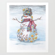 Daisy Snowman Art Print