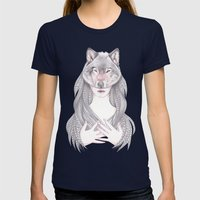 Wolf Heart Womens Fitted Tee Navy SMALL
