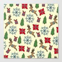 Reindeer And Poinsettias Canvas Print