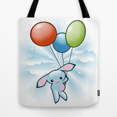 Cute Little Blue Bunny Flying With Balloons Tote Bag