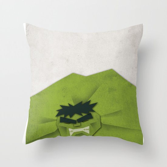 Paper Heroes - Hulk Throw Pillow