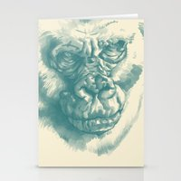 Gorilla Sketch in blue Stationery Cards