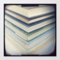 Blue chevron books Canvas Print