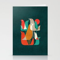 retro Stationery Cards featuring Flock of Birds by Picomodi