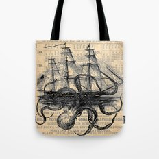 Octopus Kraken attacking Ship Antique Almanac Paper Tote Bag
