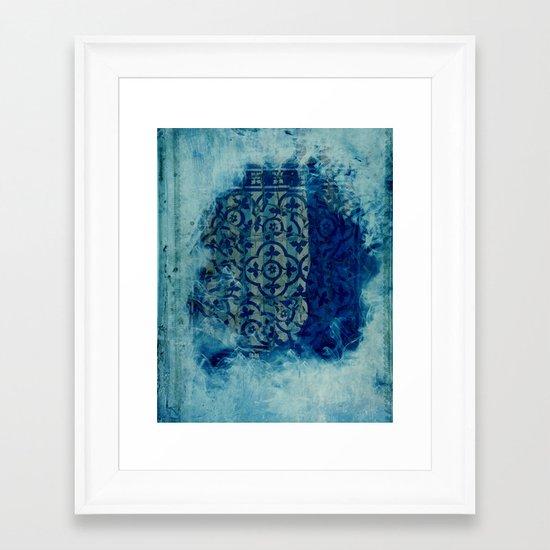 mosaic in cyan Framed Art Print