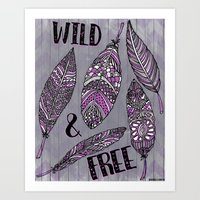 Wild & Free Feathers. Purple & Grey Edition Art Print