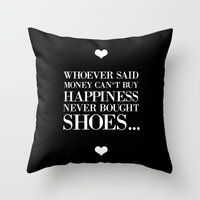 happiness black Throw Pillow