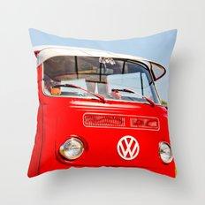 Red VW Bus Bold Print Throw Pillow