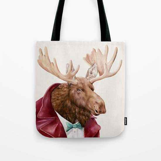 Moose in Maroon Tote Bag