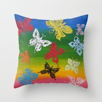 Colorful Butterflies (1) Throw Pillow