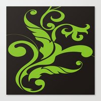 Floral Swirls Green On B… Canvas Print