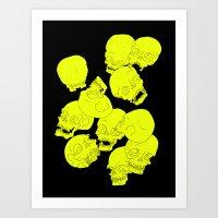 Neon Skulls Art Print