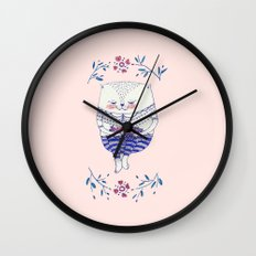 strawberry cat Wall Clock