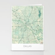 Dallas Map Blue Vintage Stationery Cards