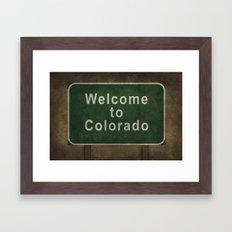 Welcome to Colorado, roadside sign illustration Framed Art Print