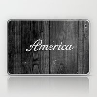 Black and White Patriotic Vintage America USA Wood Laptop & iPad Skin