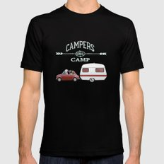 CAMPERS GONNA CAMP SMALL Black Mens Fitted Tee