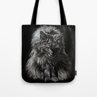 Who's for Dinner? Big Black & White Main Coon Cat Tote Bag