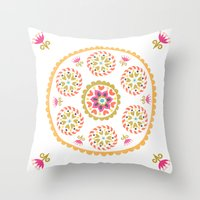 Suzani inspired floral 4 Throw Pillow