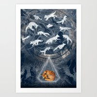 orange Art Prints featuring GHOSTS  by Sandra Dieckmann