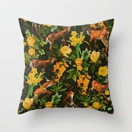 Throw Pillow - Deer and Floral Pattern - Burcu Korkmazyurek