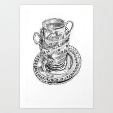 Stacked Tea Cups Art Print