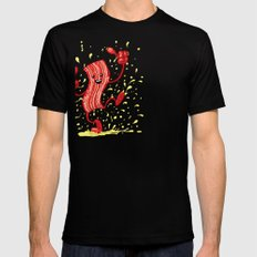 Dancing Bacon! SMALL Black Mens Fitted Tee