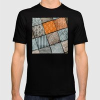 Vintage Material Quilt Mens Fitted Tee Black SMALL