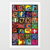 alphabet Art Prints featuring Alphabet by C Z A V E L L E