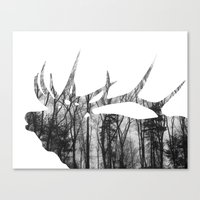Elk Silhouette (in The T… Canvas Print