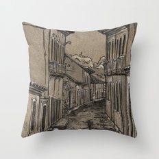 Old Village Alley Throw Pillow