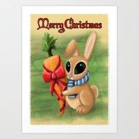 Bunny Xmas Card Art Print