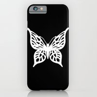 Butterfly White On Black iPhone 6 Slim Case