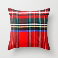 Red Plaid Pattern  Throw Pillow