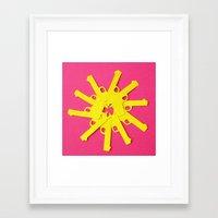 Framed Art Print featuring Gun Flower on Pink by Sally Eyeballs