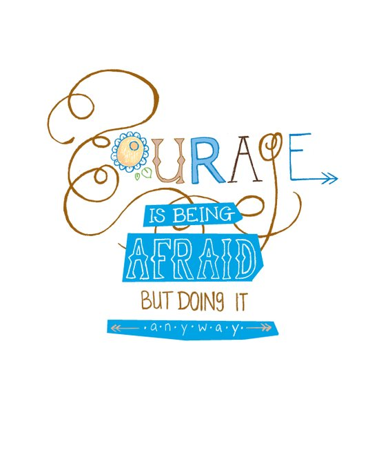 Courage Print, Hand Drawn Typography Canvas Print