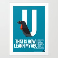 Animal Alphabet U Art Print