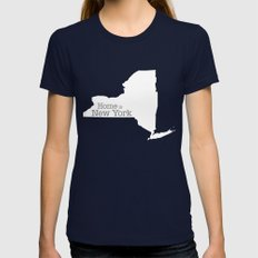Home Is New York - State… Womens Fitted Tee Navy SMALL