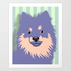 Olie the Pomeranian in Purple Art Print