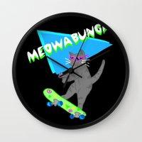 Meowabunga  Wall Clock