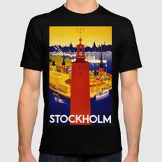 Vintage Stockholm Sweden Travel Mens Fitted Tee Black SMALL