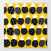 Black Pineapple. Canvas Print