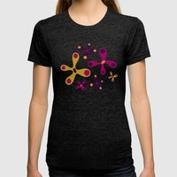 Flower Burst [Turquoise] Womens Fitted Tee Tri-Black SMALL