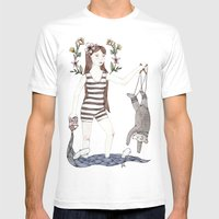 Dangle Bear Mens Fitted Tee White SMALL